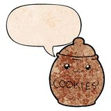 A creative cartoon cookie jar and speech bubble in retro texture style. An original creative cartoon cookie jar and speech bubble in retro texture style vector illustration