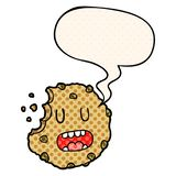 A creative cartoon cookie and speech bubble in comic book style. An original creative cartoon cookie and speech bubble in comic book style royalty free illustration