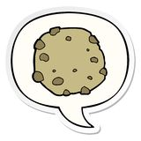 A creative cartoon cookie and speech bubble sticker. An original creative cartoon cookie and speech bubble sticker stock illustration