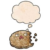 A creative cartoon cookie and thought bubble in grunge texture pattern style. An original creative cartoon cookie and thought bubble in grunge texture pattern vector illustration