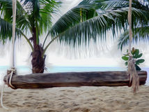 Creative cartoon design beach wooden bench 3d render Royalty Free Stock Photos