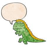 A creative cartoon dinosaur and speech bubble in retro texture style. An original creative cartoon dinosaur and speech bubble in retro texture style stock illustration