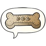A creative cartoon dog biscuit and speech bubble in smooth gradient style. An original creative cartoon dog biscuit and speech bubble in smooth gradient style royalty free illustration