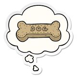 A creative cartoon dog biscuit and thought bubble as a printed sticker. An original creative cartoon dog biscuit and thought bubble as a printed sticker stock illustration