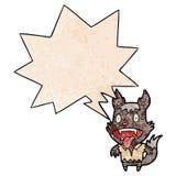 A creative cartoon halloween werewolf and speech bubble in retro texture style. An original creative cartoon halloween werewolf and speech bubble in retro royalty free illustration