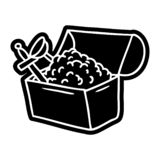 A creative cartoon icon drawing of a treasure chest. An original creative cartoon icon drawing of a treasure chest vector illustration