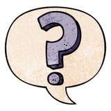A creative cartoon question mark and speech bubble in retro texture style. An original creative cartoon question mark and speech bubble in retro texture style vector illustration