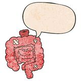 A creative cartoon repaired intestines and speech bubble in retro texture style. An original creative cartoon repaired intestines and speech bubble in retro royalty free illustration