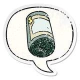 A creative cartoon roll of money and speech bubble distressed sticker. An original creative cartoon roll of money and speech bubble distressed sticker stock illustration