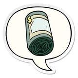 A creative cartoon roll of money and speech bubble sticker. An original creative cartoon roll of money and speech bubble sticker vector illustration