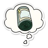 A creative cartoon roll of money and thought bubble as a printed sticker. An original creative cartoon roll of money and thought bubble as a printed sticker stock illustration