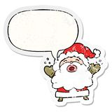 A creative cartoon santa claus shouting in frustration and speech bubble distressed sticker. An original creative cartoon santa claus shouting in frustration and vector illustration