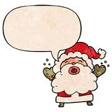 A creative cartoon santa claus shouting in frustration and speech bubble in retro texture style. An original creative cartoon santa claus shouting in frustration vector illustration
