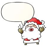 A creative cartoon santa claus shouting in frustration and speech bubble in smooth gradient style. An original creative cartoon santa claus shouting in stock illustration