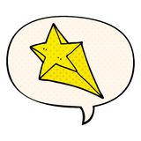 A creative cartoon shooting star and speech bubble in comic book style. An original creative cartoon shooting star and speech bubble in comic book style royalty free illustration