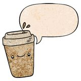 A creative cartoon takeaway coffee and speech bubble in retro texture style. An original creative cartoon takeaway coffee and speech bubble in retro texture royalty free illustration