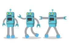 Creative cartoon vector illustration of robot on white background. stock illustration