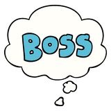 A creative cartoon word boss and thought bubble. An original creative cartoon word boss and thought bubble vector illustration