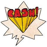 A creative cartoon word cash and speech bubble in retro texture style. An original creative cartoon word cash and speech bubble in retro texture style vector illustration