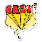 A creative cartoon word cash and thought bubble as a distressed worn sticker. An original creative cartoon word cash and thought bubble as a distressed worn stock illustration