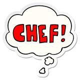 A creative cartoon word chef and thought bubble as a printed sticker. An original creative cartoon word chef and thought bubble as a printed sticker royalty free illustration