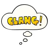 A creative cartoon word clang and thought bubble in smooth gradient style. An original creative cartoon word clang and thought bubble in smooth gradient style stock illustration