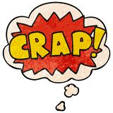 A creative cartoon word Crap! and thought bubble in grunge texture pattern style. An original creative cartoon word Crap! and thought bubble in grunge texture stock illustration