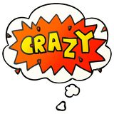 A creative cartoon word crazy and thought bubble in smooth gradient style. An original creative cartoon word crazy and thought bubble in smooth gradient style vector illustration