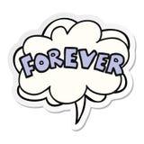 A creative cartoon word Forever and speech bubble sticker. An original creative cartoon word Forever and speech bubble sticker vector illustration