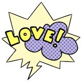 A creative cartoon word love and speech bubble in comic book style. An original creative cartoon word love and speech bubble in comic book style royalty free illustration