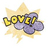 A creative cartoon word love and speech bubble in retro textured style. An original creative cartoon word love and speech bubble in retro textured style stock illustration