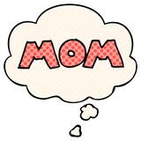 A creative  cartoon word mom and thought bubble in comic book style. An original creative  cartoon word mom and thought bubble in comic book style vector illustration