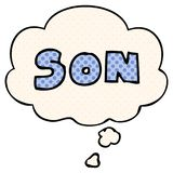 A creative cartoon word son and thought bubble in comic book style. An original creative cartoon word son and thought bubble in comic book style vector illustration