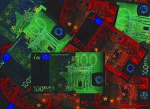 Creative cash. Bank notes 50 and 100 Euro from Europe Stock Photography
