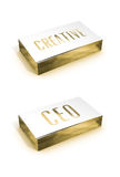 Creative CEO golden card. Stack of creative CEO business card Royalty Free Stock Image