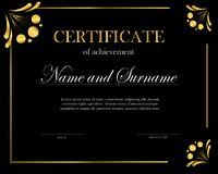Creative certificate, diploma. Frame for diploma, certificate. Certificate template with elegant border frame. Creative certificate, diploma. Frame for diploma stock illustration