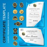 Creative and modern blue certificate with badge. Creative certificate template with luxury and modern pattern,diploma,Vector illustration royalty free stock photos
