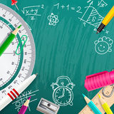 Creative chalk background with school supplies Royalty Free Stock Image