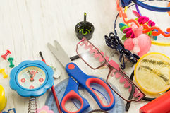 Creative chaos of tools for new school year Royalty Free Stock Images