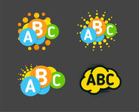 Creative children colorful brain with abc signs and orange sun. Vector  logo. Royalty Free Stock Photos