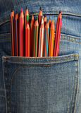 Creative children, coloured pencils in the pocket Stock Photography