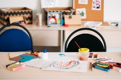 Creative children education art space. Concept. daily routine of talented people. courses for little artist Royalty Free Stock Photos