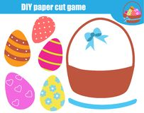 Creative children educational game. Paper cut activity. Make Easter basket eggs with glue and scissors. Creative children educational game. Paper cutting royalty free illustration