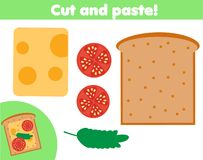 Creative children educational game. Paper cut activity. Make a sanwich with glue and scissors. Creative children educational game. Paper cutting activity. Make a royalty free illustration