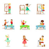 Creative Children Practicing Different Arts And Crafts In Art Class And By Themselves Set Of Kids And Creativity Themed. Illustrations. Flat Cartoon Vector Royalty Free Stock Images