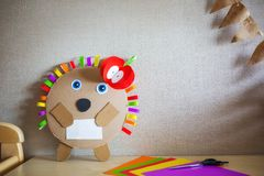 Creative children`s crafts made of colored paper and cardboard. diy stock photo