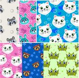 Creative children`s seamless patterns and prints set. Funny animals. vector illustration