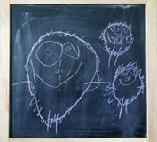 Creative childs chalk hand drawing of a family Royalty Free Stock Photo