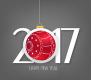 Creative chinese new year 2017 text design with christmas ball.  Stock Images