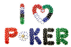 Creative chips, I love poker. Colored chips that make up the inscription `I love poker` with two 1 dollar coins inside `O` and inside heart Stock Photography